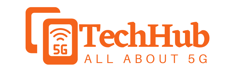 5g technology hub logo orange
